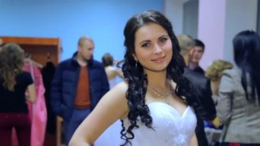 """VINNITSA, UKRAINE - DECEMBER 12: Competition """"Bride of the Year. """" Preparation of participants in the contest. Contestants """"Bride of the year 2014"""". December 12, 2014 in Vinnitsa, Ukraine. — Stock Video"""