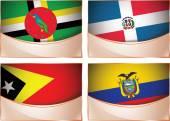 Flags illustration, Dominica, Dominican Republic, East Timor, Ecuador — Stok Vektör