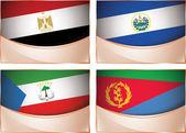 Flags illustration, Egypt, El Salvador, Equatorial Guinea, Eritrea — Stock Vector