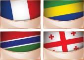 Flags illustration, France, Gabon, Gambia, Georgia — Stock Vector