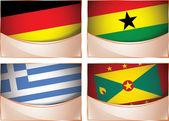 Flags illustration, Germany, Ghana, Greece, Grenada — Stock Vector