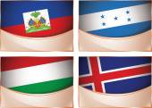 Flags illustration, Haiti, Honduras, Hungary, Iceland — Vector de stock