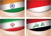 Flags illustration, India, Indonesia, Iran, Iraq — Stock Vector