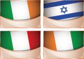 Flags illustration, Ireland, Israel, Italy, Ivory Coast — Stock Vector