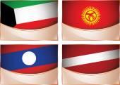 Flags illustration, Kuwait, Kyrgyzstan, Laos, Latvia — Stock Vector