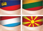 Flags illustration, Liechtenstein, Lithuania, Luxembourg, Macedonia — Stock Vector