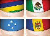 Flags illustration, Mauritius, Mexico, Micronesia, Moldova — Stock Vector