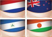 Flags illustration, Netherlands, New Zealand, Nicaragua, Niger — Stock Vector