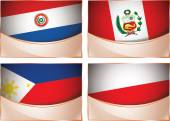 Flags illustration, Paraguay, Peru, Philippines, Poland — Vector de stock
