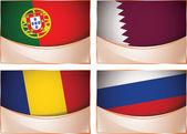 Flags illustration, Portugal, Qatar, Romania, Russia — Stock Vector
