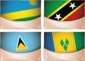 Flags illustration, Rwanda, Saint Kitts and Nevis, Saint Lucia, Saint Vincent and the Grenadines — Stock Vector