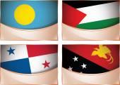 Flags illustration, Palau, Palestine, Panama, Papua New Guinea — Stock Vector
