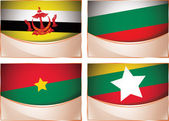 Flags illustration, Brunei, Bulgaria, Burkina Faso, Burma — Stock Vector