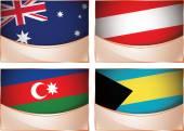 Flags illustration, Australia, Austria, Azerbaijan, Bahamas — Stock Vector
