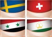 Flags illustration, Sweden, Switzerland, Syria, Tajikistan — Stock Vector