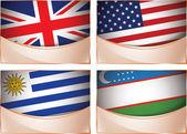 Flags illustration, United Kingdom, United States of America, Uruguay, Uzbekistan — Stock Vector