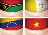 Flags illustration, Vanuatu, Vatican City, Venezuela, Vietnam — Stock Vector