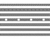 Different meander ansient element patterns line — Stock Vector