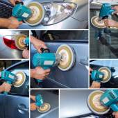 Collage polishing car at automobile repair — Stock Photo