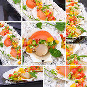 Collage seared scallops with tropical salsa — Stock Photo