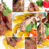 Collage grilled rib lamb black pepper with souse — Stock Photo