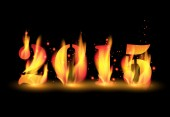 Happy New Year 2015 by blaze fire flame — Stock Vector