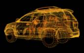 Wireframe of car model — Stock Photo