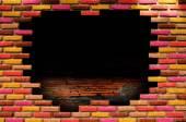 стена кирпичной крошки — Стоковое фото