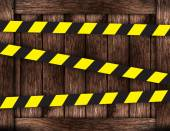 Wooden boards with restriction tape — Stock Photo