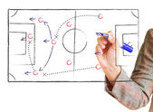 Tactics drawn on glass board — Stockfoto