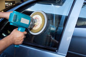 Buffer machine polishing car — Stock Photo