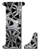 L patterned with wheel trims — Stock Photo
