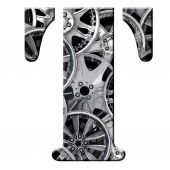 T patterned with wheel trims — Stock Photo