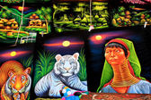 Colorful paintings at market — Stock Photo