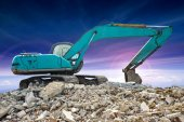 Excavator on working site — Foto Stock