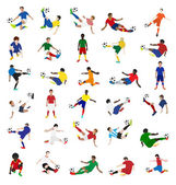 Collection of soccer players — Stock Vector