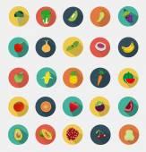 Design plat de fruits et légumes icônes — Vecteur