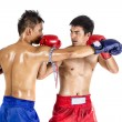 Two thai boxers exercising traditional martial art — Stock Photo #72015531