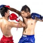 Two thai boxers exercising traditional martial art — Stock Photo #72015999