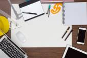 Office desk background with construction project ideas concept — Stock Photo