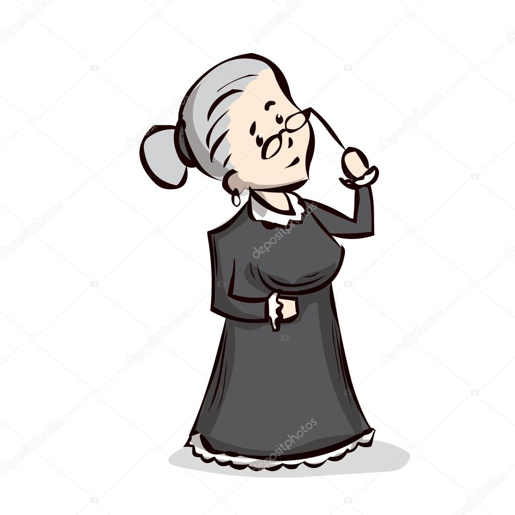Old lady cartoon character — stock vector dergriza