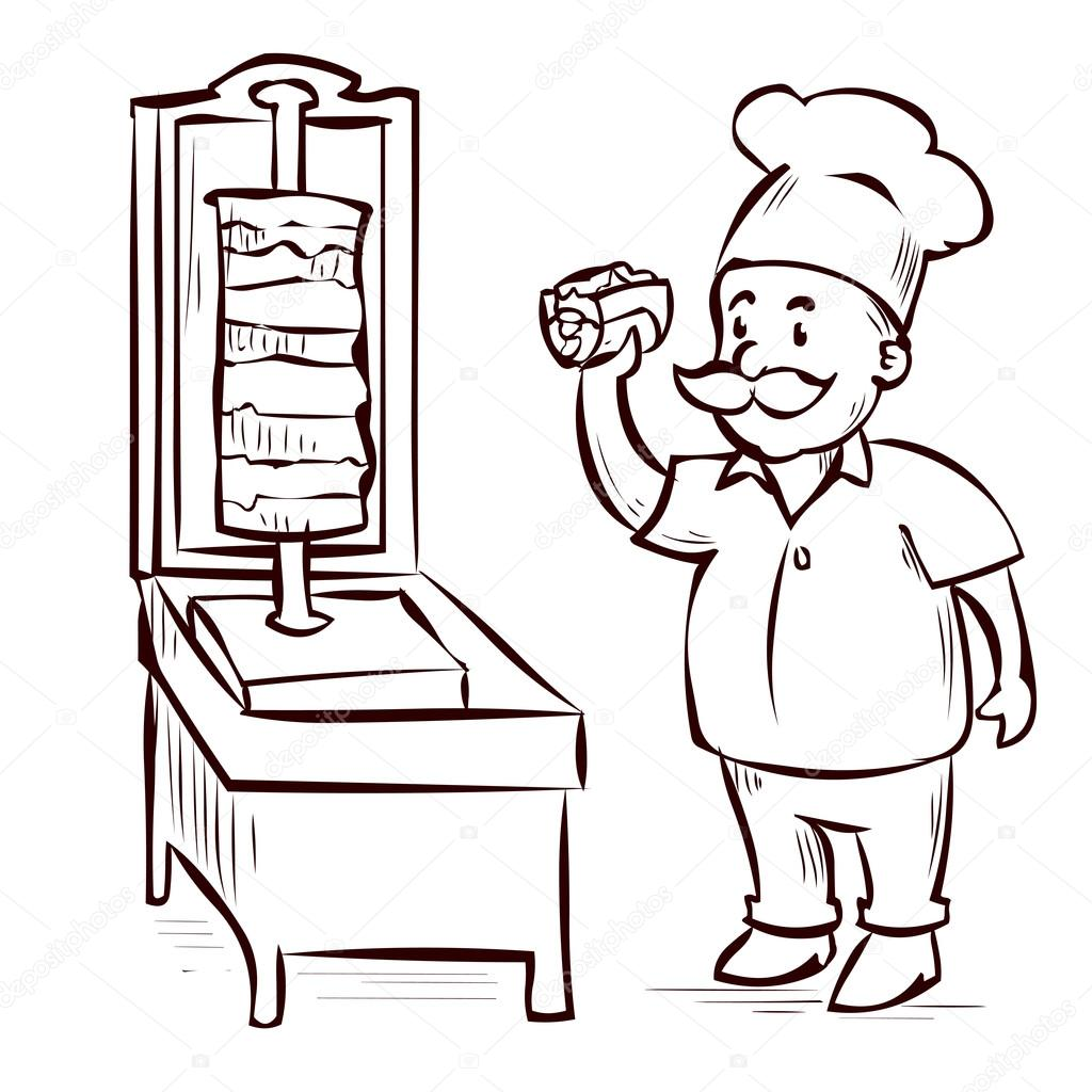 Cartoon arabic food chef stock vector dergriza 107832616 for Cuisinier kebab