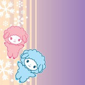 Kawaii little cute sheeps. symbol of the New Year 2015. Japaneese style. — Vetorial Stock