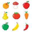 Set of pixel icons. Fruits and Vegetables. — Stock Vector #53475169
