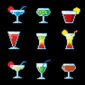 Set of pixel icons. Cocktails and drinks. — Stock Vector