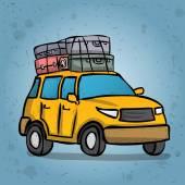 Veículo off-road com a bagagem. ilustração vetorial desenhada de mão. — Vetorial Stock