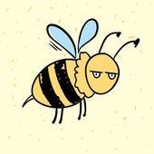 Hand drawn funny cartoon vector bee — Stock Vector