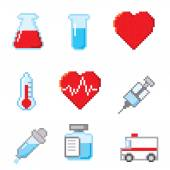 Healthcare pixel icons set — ストックベクタ