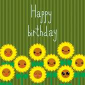 Cute greeting card with cartoon sunflowers. Kawaii japanese style. — Stock Vector