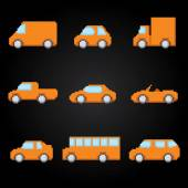 Pixel cars icons set. Old school computer graphic style. — Stock Vector